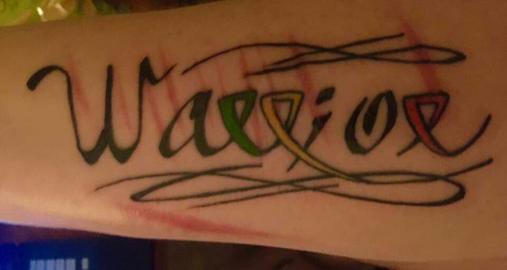 "What a beautiful ""Warrior"" tattoo.  The Rs are awareness ribbons. Green for bipolar/mental health, yellow for suicide prevention, and orange for self injury awareness, and the i is a semicolon representing the times I could have ended my life but chose to live instead."