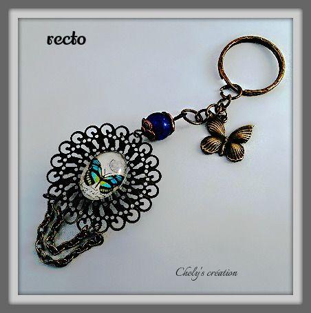 porte clés en métal bronze cabochon papillon recto verso : Porte clés par chely-s-creation