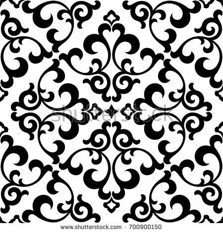 Floral pattern. Wallpaper baroque, damask. Seamless vector background. Black and…