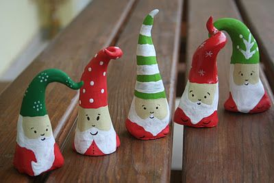 just clay and paint... really cute!  You can use Stroke & Coat on Clay for a one time firing.  Just leave the bottom un-glazed so the gases escape.