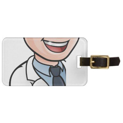 #Scientist Cartoon Character Thumbs Up Sign Luggage Tag - #luggage #tags