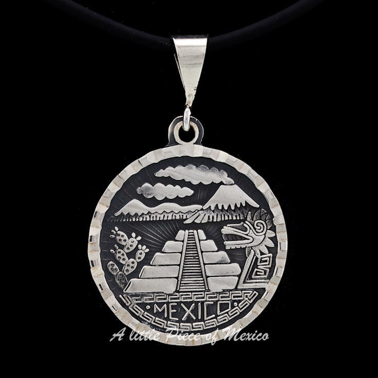 "This beautiful silver pendant displays characteristic elements of the ancient cultures that developed in Mexico before the arrival of the Spaniards.    Depicted are the volcano named Popocatepetl and its neighbouring mountain the Iztaccihuatl on top of the pendant, its typical cactus or ""nopales"" on the right of the magnificent Chichen Itza pyramid and the representation of Kukulcan, the ""feathered Serpent God"", to the left, and underlined by the name of the place where all this resides…"