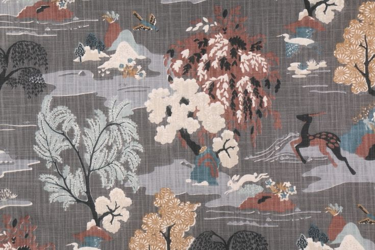 1 Yards Robert Allen Dwell Studios Modern Toile Printed Cotton Drapery Fabric in Graphite. This printed fabric is perfect for window treatments, decorative pillows, handbags, light duty upholstery applications...