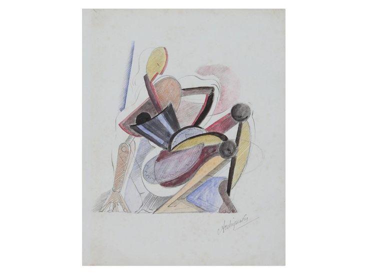 Alexander Archipenko - Cubist Drawing, 1920,...
