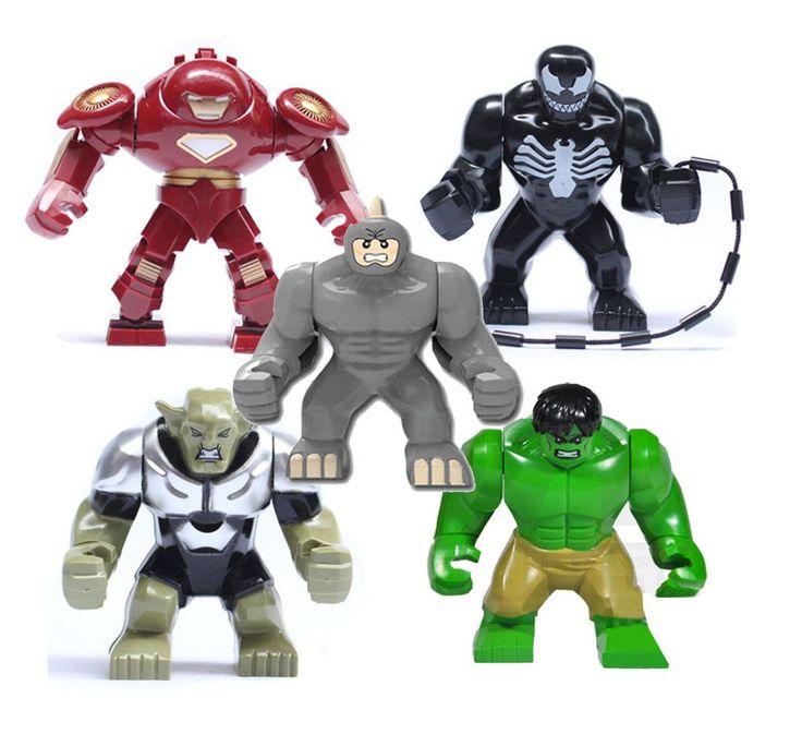 5pcs Set Hulk Buster Venom Green Goblin Minifigure Marvel Avengers Super Heroes