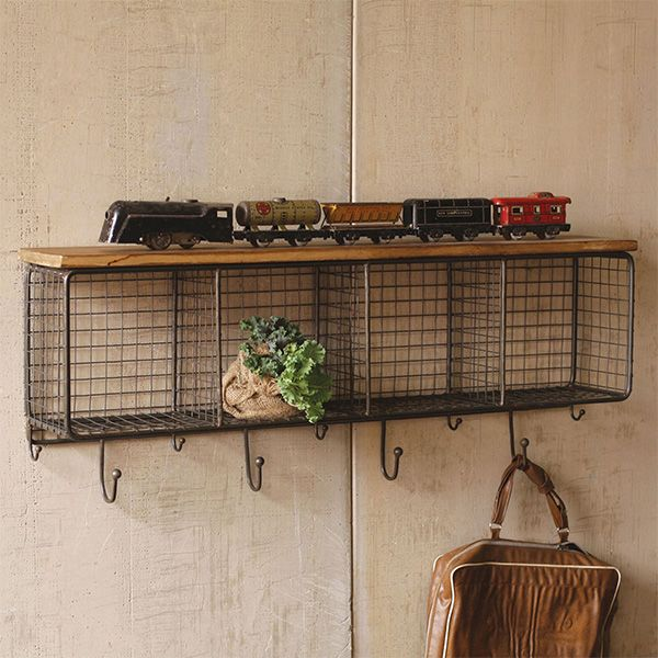Mesh Rectangle Storage Cubby Wall Accent With Hooks Wood Shelves Metal Shelves Rustic Furniture