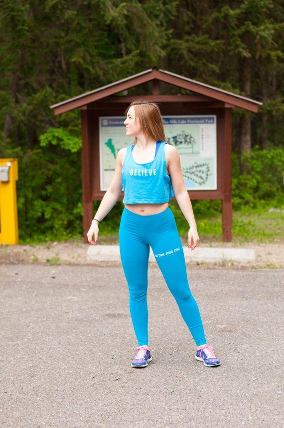 Believe Neon Heather Blue Loose Crop Tank by PiperAthletica, $29.00