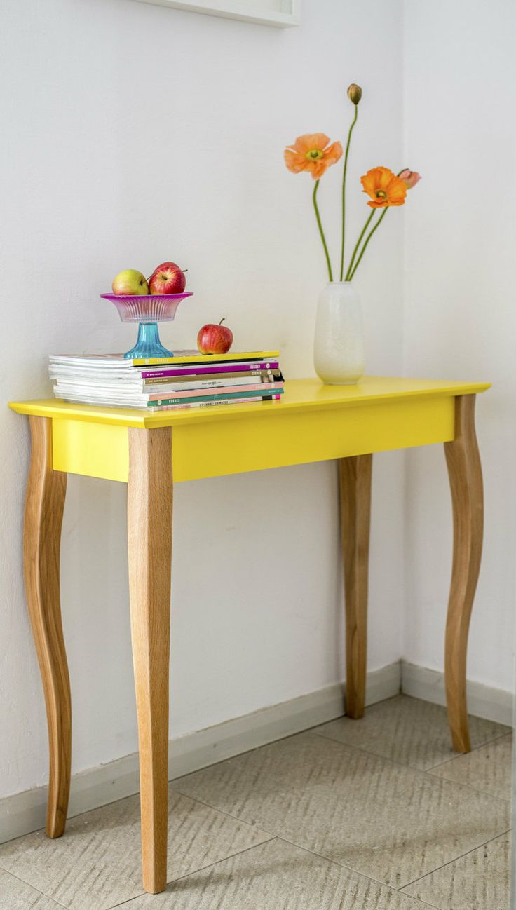White Or Yellow Modern Scandi Console Table 105 Cm And Mirror In Home,  Furniture U0026 DIY, Furniture, Tables