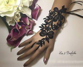 Mitaine mariage noeud Noir dentelle mariage Soirée X1(vendue A l ...