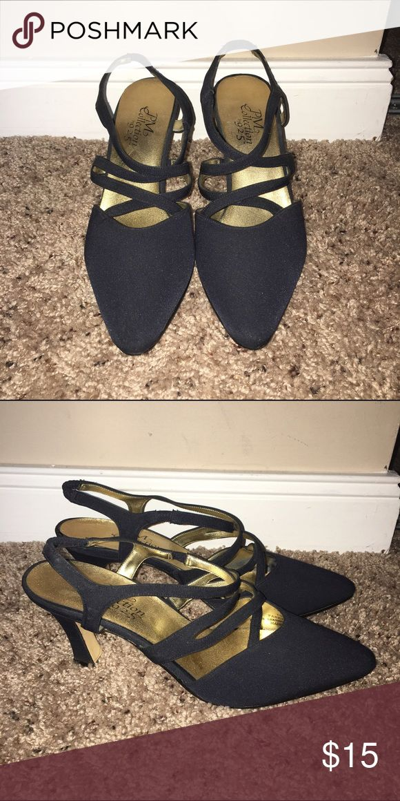 Navy Strappy Heels Good wearable condition, only worn a few times! PM Collection by 9.2.5 Shoes Heels