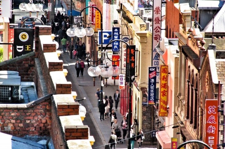 Shot with a little point-and-shoot camera. Looking into Little Bourke Street, Chinatown.