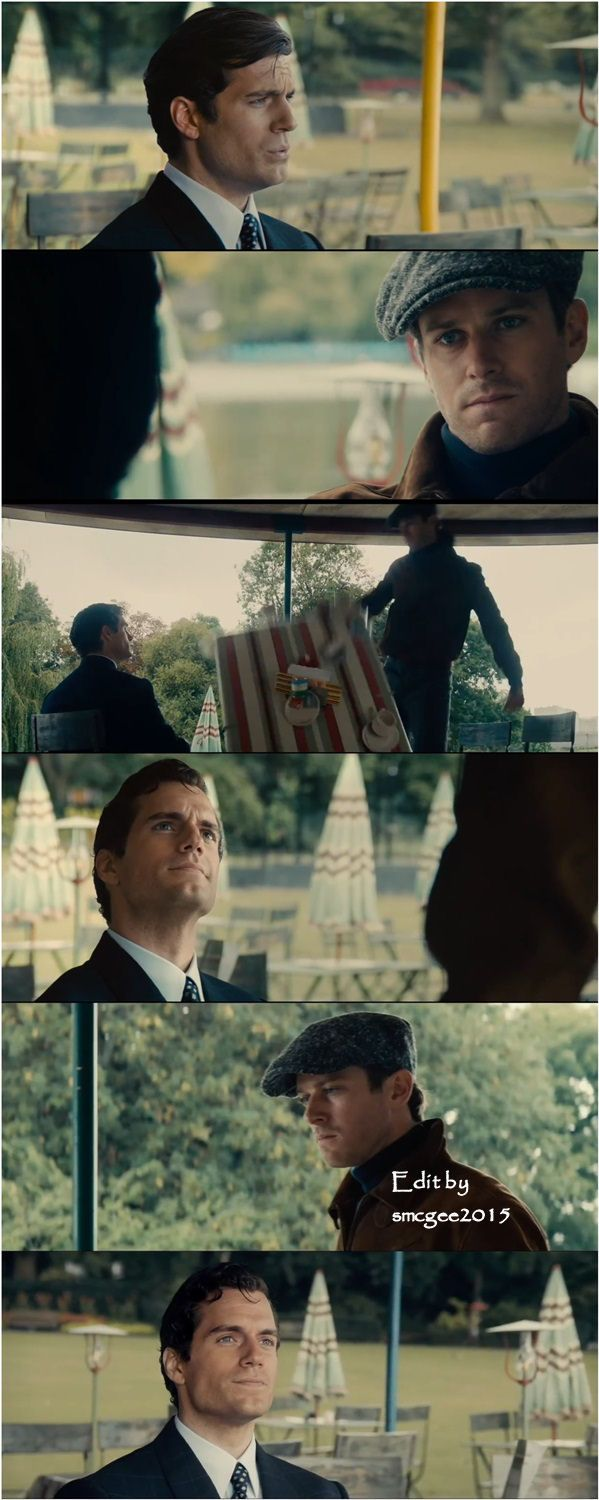 Edit by Serbella McGee ~ Screencaps from the Comic Con trailer: Napoleon Solo (Henry Cavill) and Illya Kuryakin (Armie Hammer) engage in a not so friendly game of one-upsmanship. Illya disses Solo's balls and Solo responds by mentioning how popular Illya's mom was among Illya's dad's friends. Solo wins!