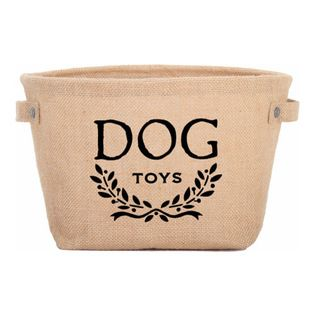 Eco Dog Toy Storage Bag - This adorable toy storage tote is made of natural hemp with an earth-friendly inside coating for easy cleaning. Ideal for keeping all your dog's play toys in one attractive bin!
