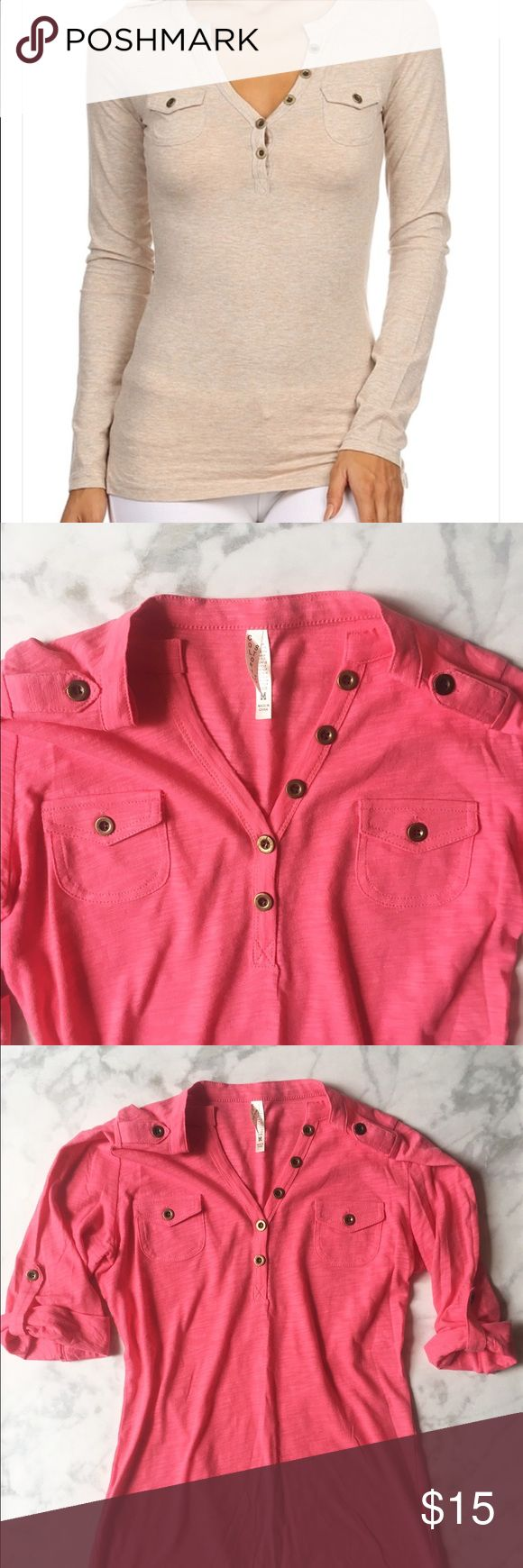 """NWOT! Stylish Button Front Henley Top NWOT Pink Button Front Henley Top. Size M.     *Button front henley with opulets *95% Cotton, 5% Spandex *Model Info: Height: 5'7"""" 