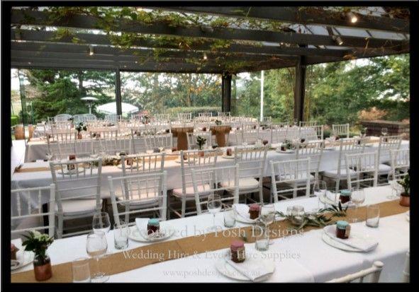 #tiffanychairs #hessianrunners #wedding #theming available at #poshdesignsweddings - #sydneyweddings #southcoastweddings #wollongongweddings #canberraweddings #southernhighlandsweddings #campbelltownweddings #penrithweddings #bathurstweddings #illawarraweddings  All stock owned by Posh Designs Wedding & Event Supplies – lisa@poshdesigns.com.au or visit www.poshdesigns.com.au or www.facebook.com/.poshdesigns.com.au #Wedding #reception #decorations #Outdoor #ceremony decorations