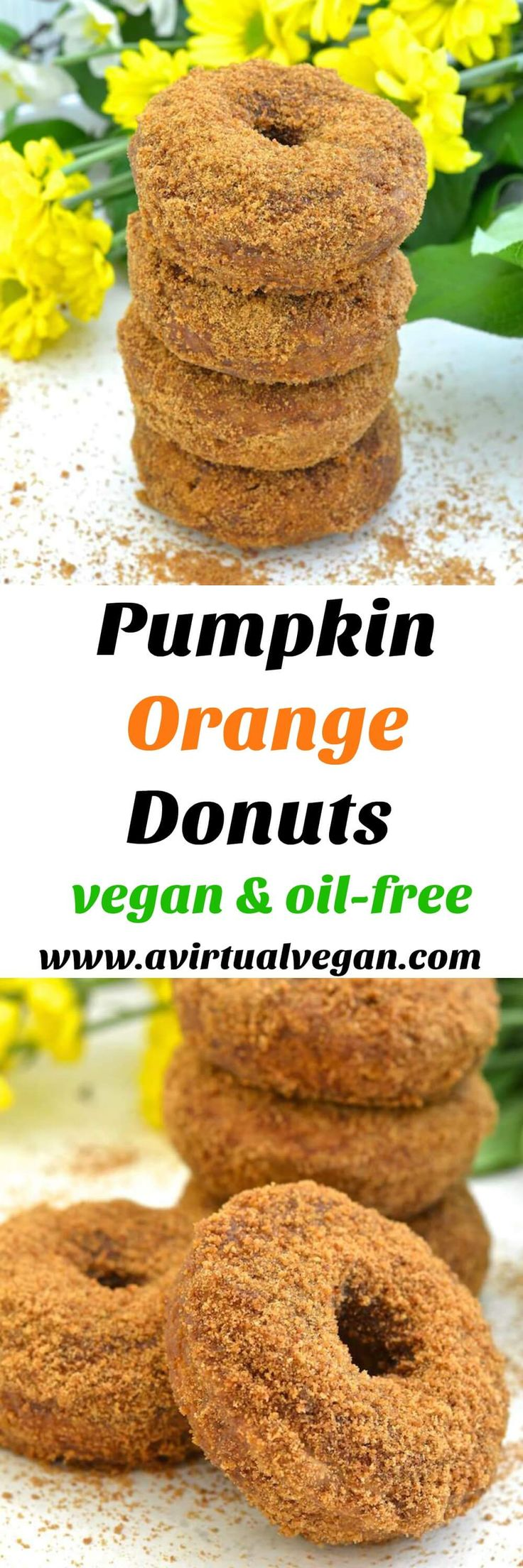 Moist, soft & fluffy, oil-free Pumpkin Orange Donuts. Baked to perfection then rolled in sugar. So easy to make & no mixer required! All you need is a spoon & a bowl. No donut pan? Don't worry, I've got you covered, but just so's you know....everything tastes better in donut shape! ;O) via @avirtualvegan