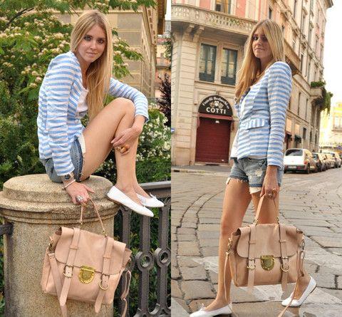 Light blue striped jacket and giant bag (by Chiara Ferragni) http://lookbook.nu/look/842869-Light-blue-striped-jacket-and-giant-bag