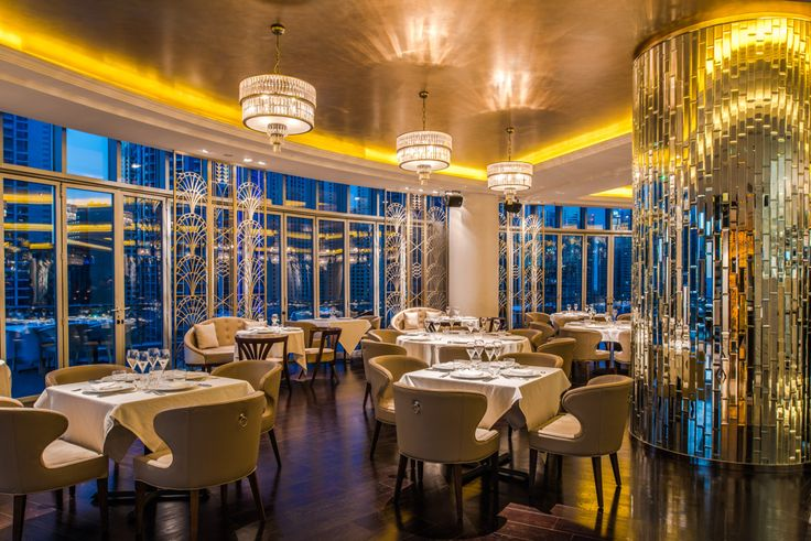 Classcial light fixtures with modern look in the Atelier M Restaurant in Dubai - by Sans Souci