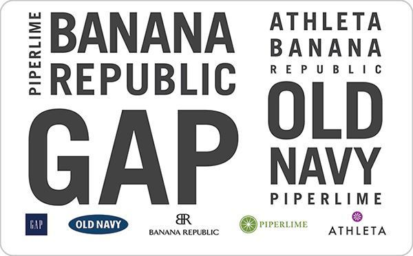 Gap Options Gift Card - Email delivery  The eGiftCard may be redeemed for merchandise at any Gap brand, Old Navy, Banana Republic, Piperlime or Athleta location, including Outlet and Factory stores. The eGiftCard may also be redeemed online for merchandise    #Gap  #OldNavy #BananaRepublic #Piperlime #Athleta