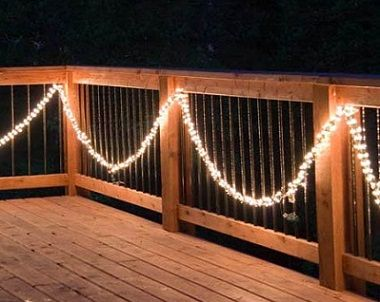 10 best outdoor christmas decorations images on pinterest light brighten up your deck for christmas and winter with strands of lighted garland mozeypictures Gallery