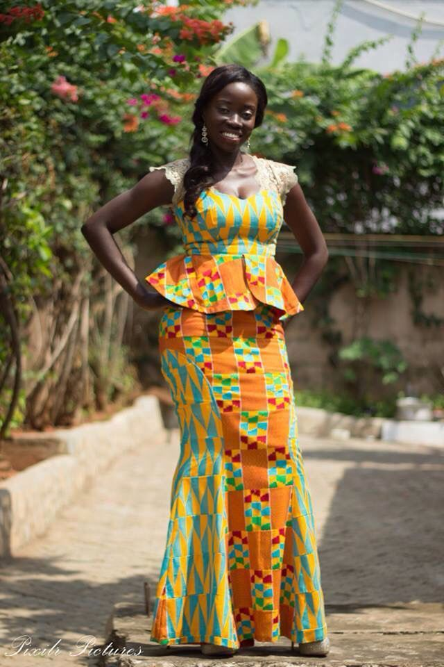 Varieties of ghanaian kente cloth style african wardrobe for Traditional wedding dress styles