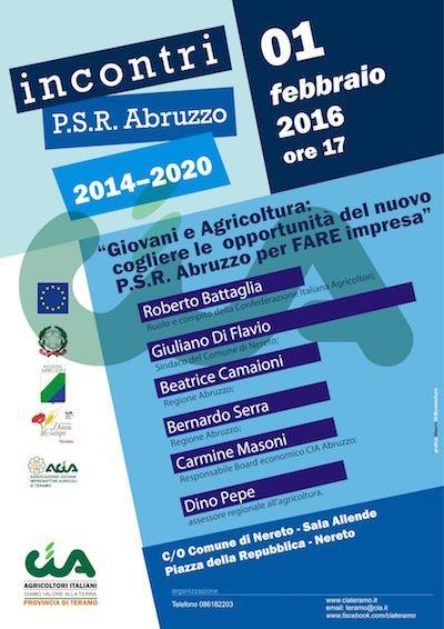 Nereto Giovani e Agricoltura:  cogliere le  opportunità del nuovo P.S.R. Abruzzo per Fare impresa