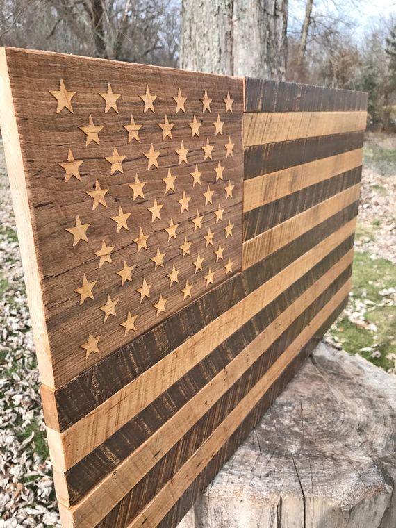 Rustic Distressed Wood Flag USA Flag America by JWCraftsmanStore