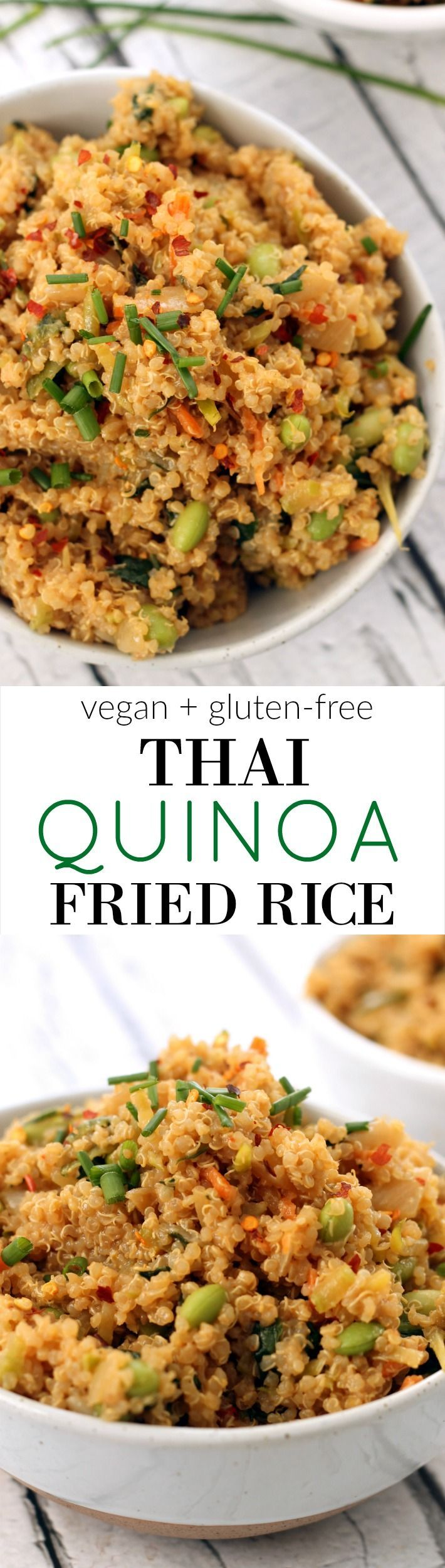 Thai Quinoa Fried Rice is a 30-minute vegan meal chock full of high-protein quinoa, edamame, veggies, and peanut sauce in the comfort of your own home!