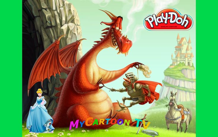 Play Doh knight's castle the Princess and the dragons MyCartoonTV