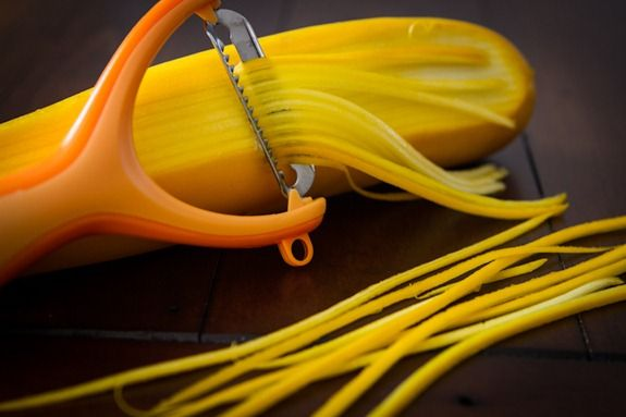 Squash pasta made with a julienne peeler. . . must get one of these!
