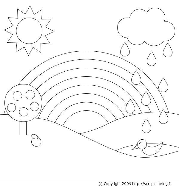Gökkuşağı kalıbı Kalıplar Pinterest Free printable, Easy and Free - new preschool coloring pages rain