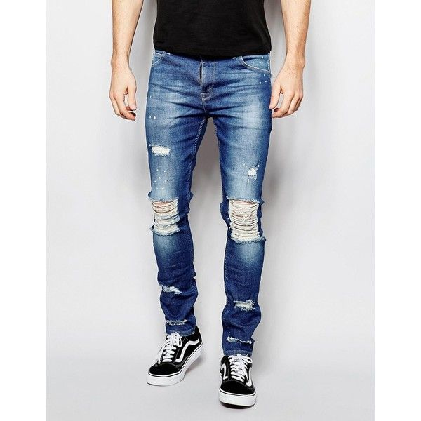 ASOS Super Skinny Jeans With Extreme Knee Rips ($50) ❤ liked on Polyvore  featuring - Best 20+ Mens Destroyed Jeans Ideas On Pinterest Boyfriend Jeans