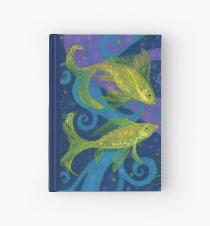 """""""Golden Fishes, underwater creatures, blue & yellow"""" Hardcover Journals by clipsocallipso 