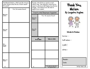 """Thank You, Ma'am"" By Langston Hughes Short Story Comprehension Tri-Fold CCSS"
