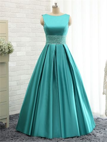 Elegant Straps A-Line Floor Length Beaded Waist Lace-up Satin Back Prom Dress