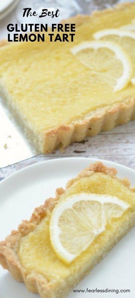 You will LOVE how easy gluten-free lemon tart is to make. Fresh lemon gluten-free dessert recipe. How to make gluten-free tart. Printable recipe www.fearlessdining.com #glutenfreetart #lemon #glutenfree #glutenfreedessert #lemontart #lemondesserts via @fearlessdining