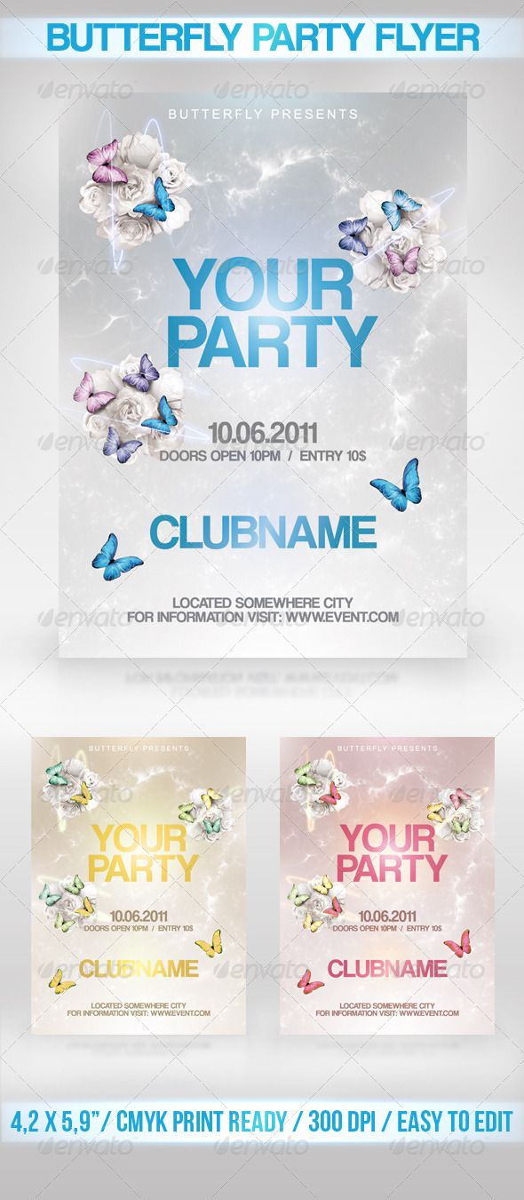 17 best images about flyers butterfly party flyer butterfly party flyer a design flyer template for any party the final package includes 1