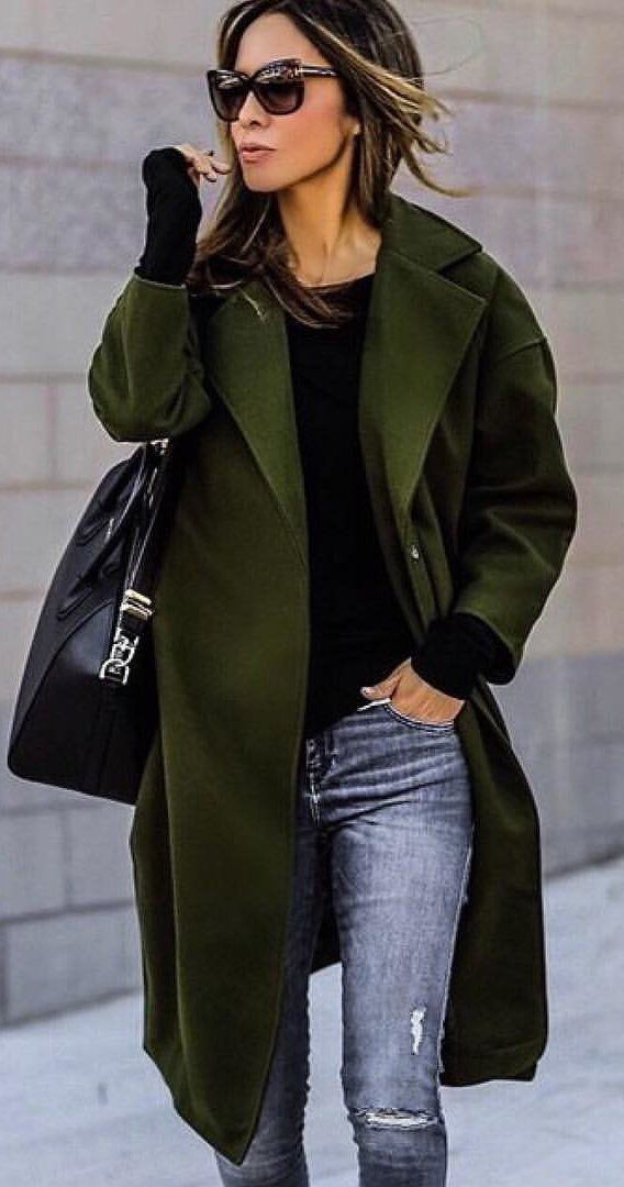 #fall #outfits women's green full-length open-cardigan