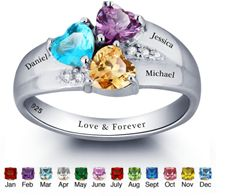 Stunning silver personalized family names and birthstones ring available from Charis Jewelry SA, Shop Online at www.charisjewelry.co.za #personalized  #family #names #birthstones #ring