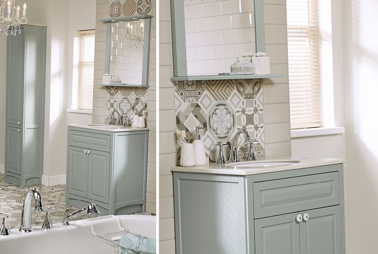 Downton classical English duck egg bathroom cabinet units are paired with bohemian blues decorative bathroom floor tiles for a fresh and timeless look. #downton #downtonclassical #bathroomfurniture #myutopia