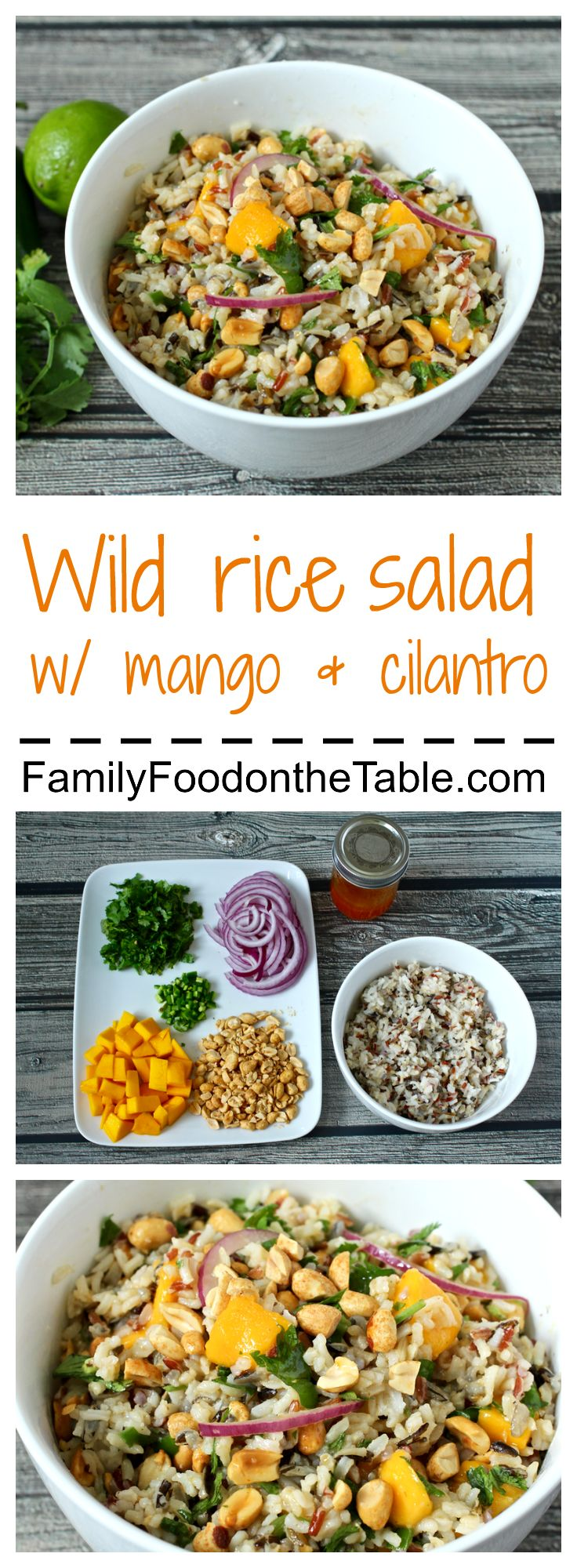 Wild rice salad with mango, cilantro, peanuts and a lime-srirachi vinaigrette - amazing flavors! | FamilyFoodontheTable.com