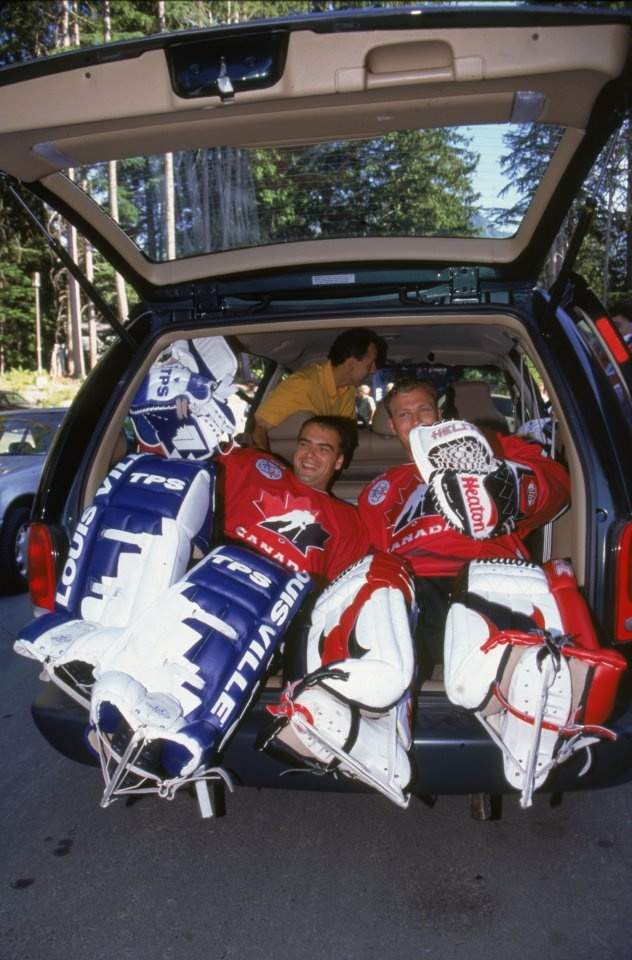 Martin Brodeur with Curtis Joseph in the back of a van.