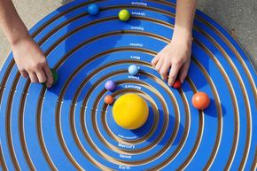 Wooden Solar System - place planets in their line of orbit. Beautiful!