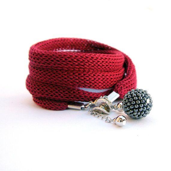 Wrap bracelet - wine red and grey bracelet / fabric jewelry / wrist wrap  / wrist cuff charm  bracelet /  knit bracelet with beaded bead
