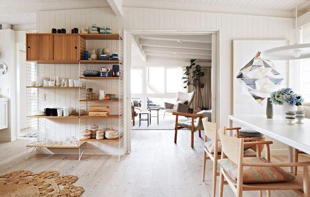string shelving units and bright, light scandinavian minimalism