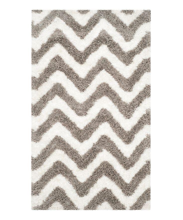 white and gray chevron shag rug