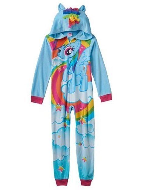 My Little PONY Fleece Hooded Pajamas NeW Girls 10 Zip-Up Rainbow Dash Pjs USA #Hasbro #OnePieceHooded