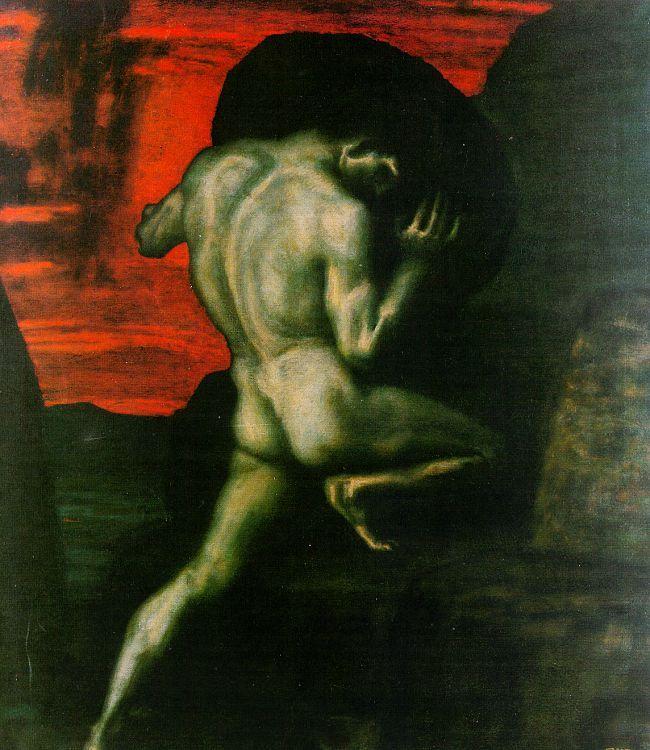 Franz Stuck (German 1863–1928), [Symbolism, Art Nouveau] Sisyphus.
