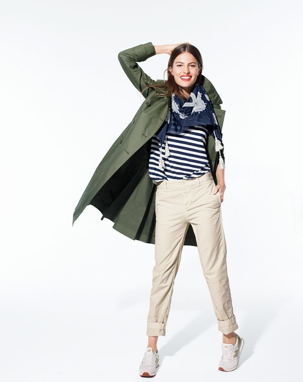 J.Crew women's military trench coat, broken-in boyfriend chino pant, mixed-stripe vintage cotton tee with rounded hem and embroidered square scarf.