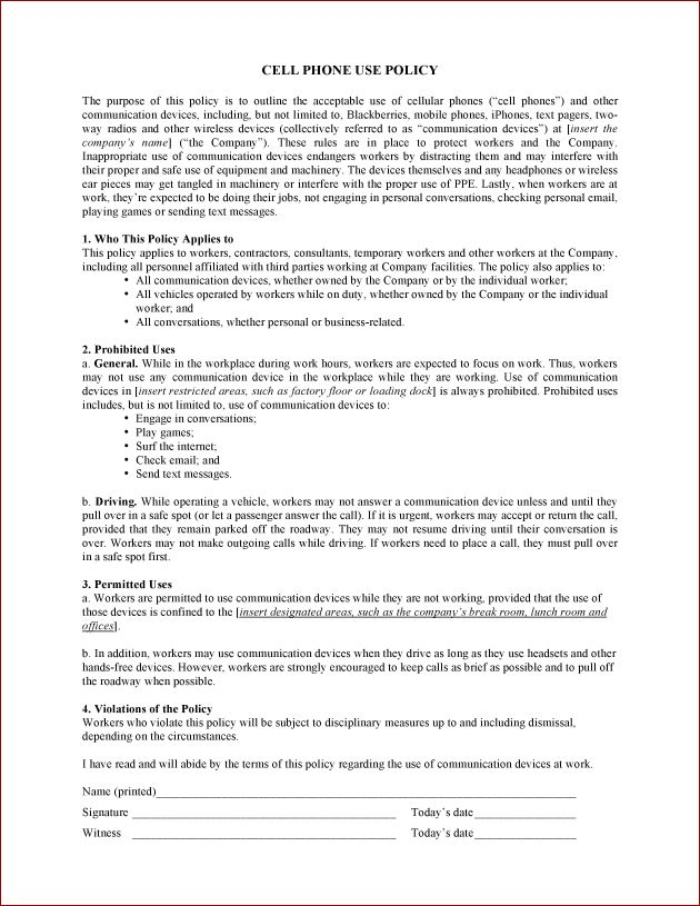 Printable Sample Cell Phone Policy Form Legal Forms